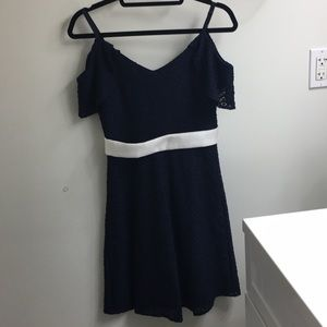 Off the shoulder dress with white sash (removable)